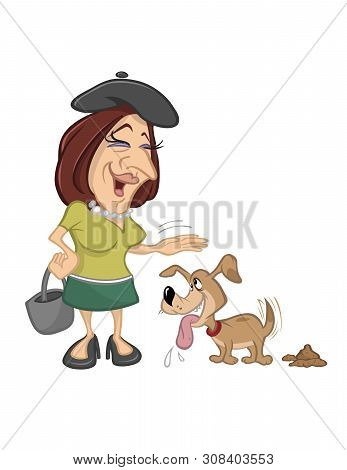 Cartoon Vector Illustration Of A Woman Petting Pet Dog