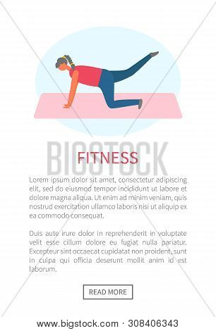Workout And Fitness, Girl Lifting Legs On Mat Or Rug Vector. Healthy Lifestyle And Sport Tips Online