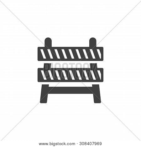Construction Barrier Vector Icon. Barricade Filled Flat Sign For Mobile Concept And Web Design. Safe