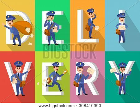 Delivery Vector, Man Wearing Uniform Holding Bag With Letters And Parcels Of Clients. Mailman Servic