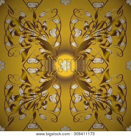 Yellow And Brown Colors With Golden Elements. Seamless Golden Pattern. Gold Metal With Floral Patter