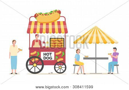 Street Food Selling And Eating Vector, Salesperson With Hot Dogs And Clients Enjoying Meal Sitting U