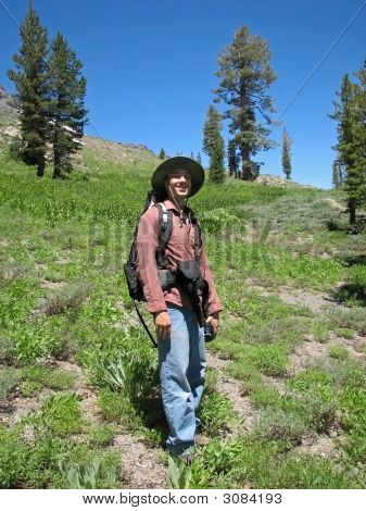 Man Hiking The Sierra Nevadas