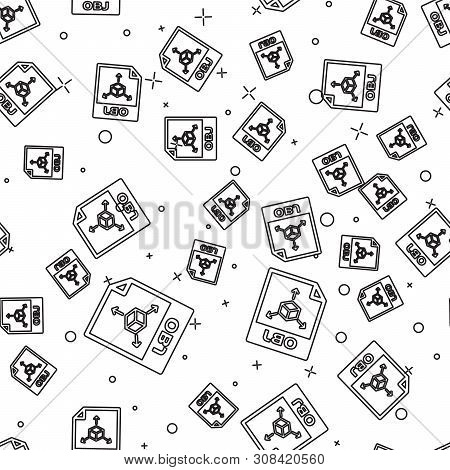 Black Obj File Document Icon. Download Obj Button Icon Isolated Seamless Pattern On White Background