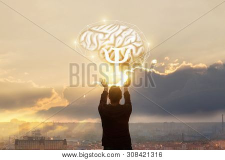 The Concept Of The Study Of The Psyche . The Woman Reaches Out To The Brain With The Sign Of Psychol