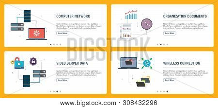 Banner Set With Icons For Internet On Websites Or App Templates With Computer Network, Documents Org