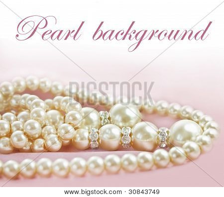Background With Pearls  Necklace On  Fabric
