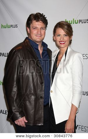 LOS ANGELES - MARCH 9:  Nathan Fillion; Stana Katic arrives at the