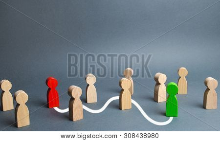 The Red And Green Figures Are Connected By A White Line Passing Through The Crowd. Communication Bet