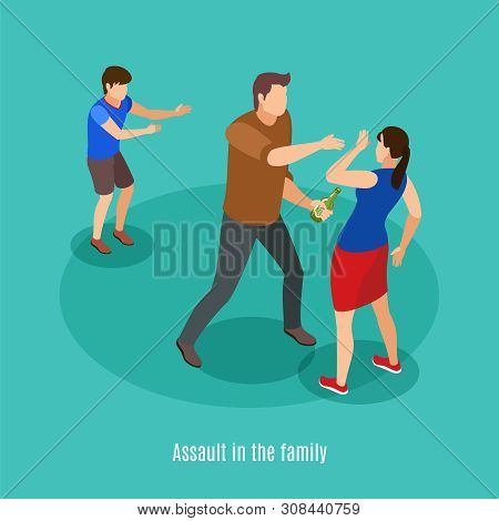 Alcoholism Family Violence In Front Of Kids Isometric Background Composition With Drunk Man Fighting