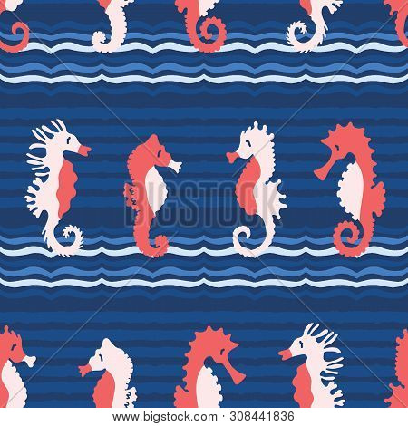 Cute Seahorses Cartoon Illustration Pattern. Hand Drawn Ocean Animals Seamless Vector Background. Na