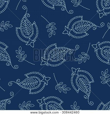 Floral Leaf Paisley Motif Sashiko Style. Japanese Needlework Seamless Vector Pattern. Hand Stitch In