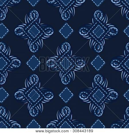 Indigo Blue Ornament Ogee Shapes. Vector Pattern Seamless Background. Hand Drawn Foulard Jewel Graph
