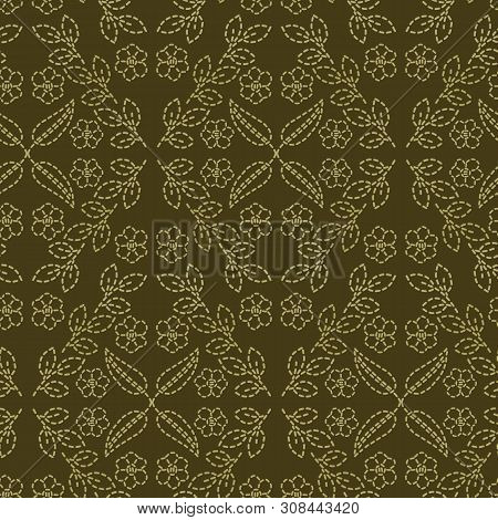 Floral Leaf Motif Running Stitch Style. Victorian Needlework Seamless Vector Pattern. Hand Stitch Or