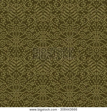 Floral Leaf Paisley Motif Running Stitch Style. Victorian Needlework Seamless Vector Pattern. Hand S