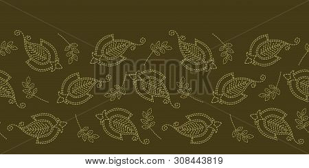 Floral Leaf Paisley Motif Running Stitch Border. Victorian Needlework Seamless Vector Pattern. Hand