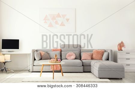 Modern Living Room Interior With Comfortable Sofa