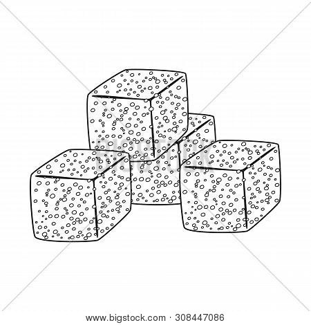 Isolated Object Of Croutons And Bread Icon. Set Of Croutons And Bowl Stock Vector Illustration.