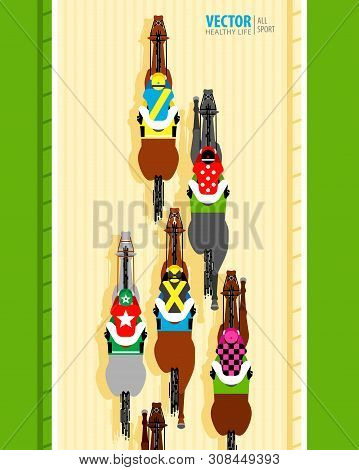 Six Racing Horses Competing With Each Other. Banner. Universal Template For A Website. Horse Racing.