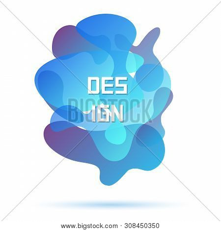 Blue Colors, Abstract Modern Graphic Element. Dynamical Forms. Gradient Abstract Banner, Flowing Liq