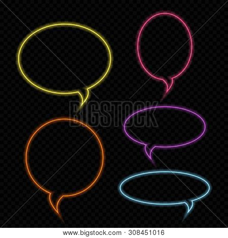 Set Of Vector Neon Talk Bubbles, Bright Colored Outlined Glowing Neon Speech Bubbles. Design Element