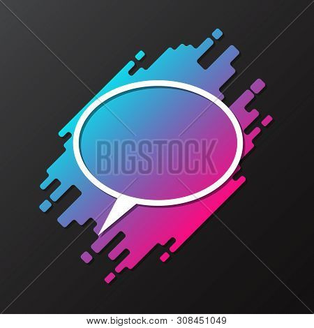 Vector Element For Design Dynamic Rounded Form With Paper Cut Speech Bubble. Frame, Banner, Card, Po