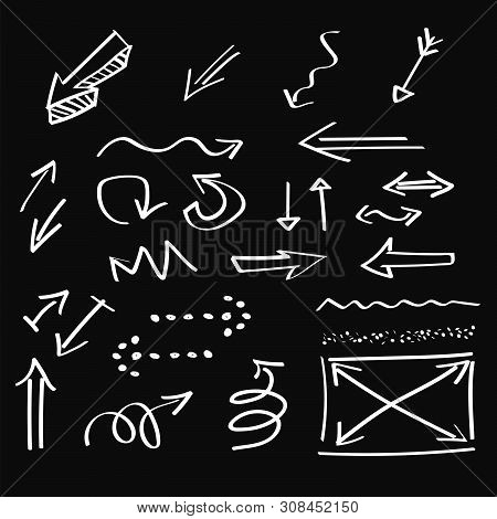 Arrows , Artistic Hand Drawn, Chalk Style, Vector Set. Chalk Graphic Elements Collection - Arrows, L