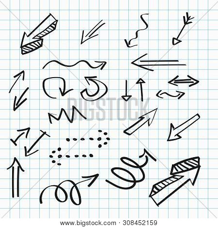 Arrows Hand-drawn Icons, Abstract Doodle Writing Design. Vector Set. - Vector