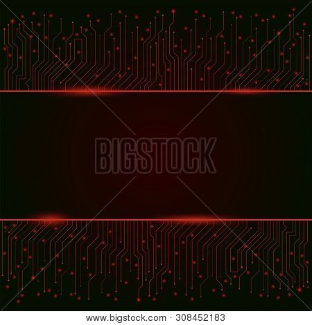 Circuit Board, Red Abstract Lights Background ,banner, Border. Vector Illustration. - Vector