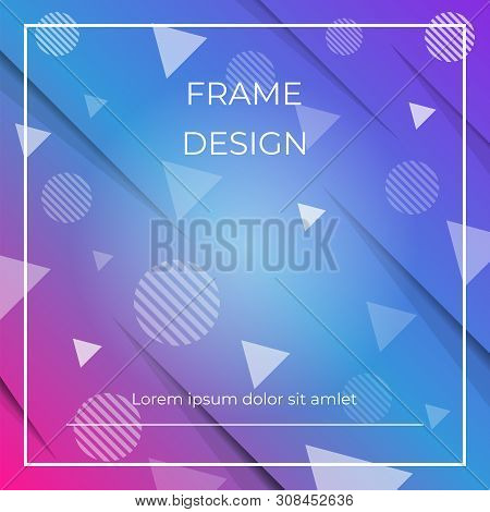 Geometric Dynamic Diagonal Blue, Pink Background With Triangles And Circles Shapes, Paper Shadow. Ve
