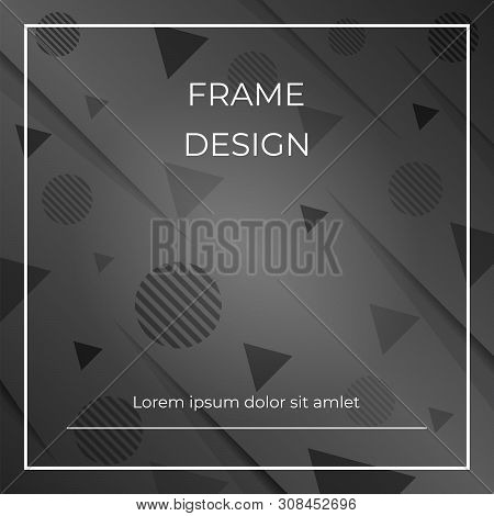 Monocrome Geometric Diagonal Black,white Background With Triangles And Circles Shapes. Vector Space