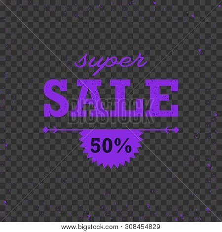 Sale Discount Offer Stylish Dark Banner With Radial Star Light Rays. Vector Grunge Sunburst Abstract