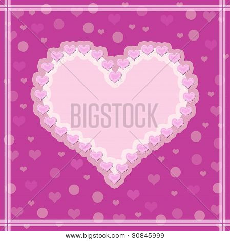 Pink background with a heart.
