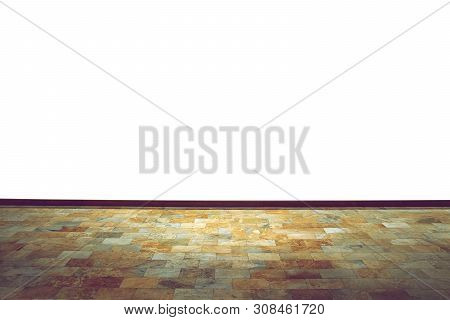Brown Marble Tile Floor And White Wall House Background