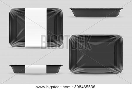 Styrofoam Food Storage. Dark Food Plastic Tray, Black Foam Meal Container, Empty Fresh Foods Box Vec