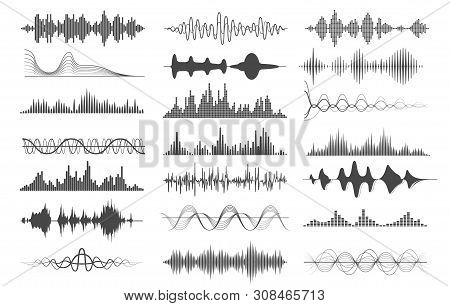 Sound Wave Charts. Voice And Radio Frequency Waves Graphs, Playing Illustrations Or Audio Soundwave