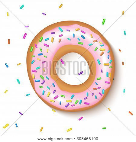 Donut With A Pink Icing Sprinkled With Grains. Realistic Colorful Donut On White Sprinkled With Grai