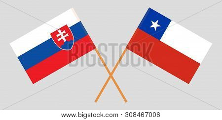 Chile And Slovakia. Chilean And Slovakian Flags. Official Colors. Correct Proportion. Vector Illustr