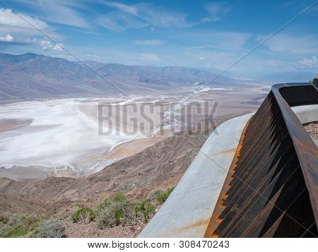 Dante's View With Protective Railing In Death Valley National Park Of The Valley Floor And Surroundi