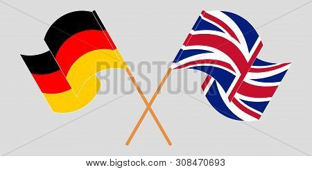 Crossed and waving flags of Germany and the UK. Vector illustration poster