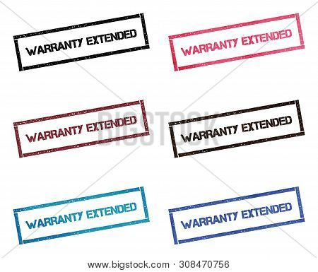 Warranty Extended Rectangular Stamp Collection. Textured Seals With Text Isolated On White Backgound