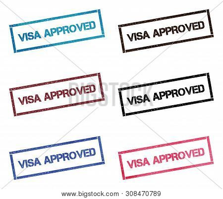 Visa Approved Rectangular Stamp Collection. Textured Seals With Text Isolated On White Backgound. St
