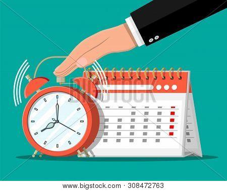 Paper Spiral Wall Calendar, Clocks And Hand. Calendar And Alarm Clocks. Schedule, Appointment, Organ