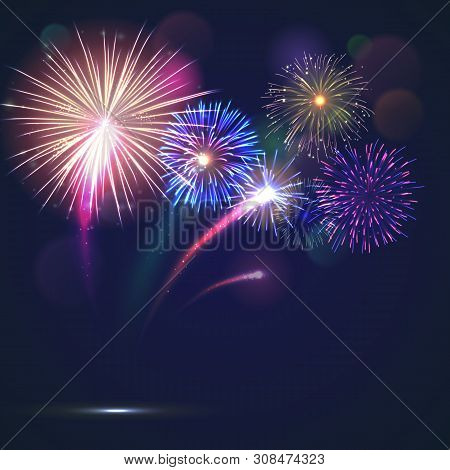 Bursting Fireworks Template With Copyspace Against Black Background. Colorful Pyrotechnics Show. Rea