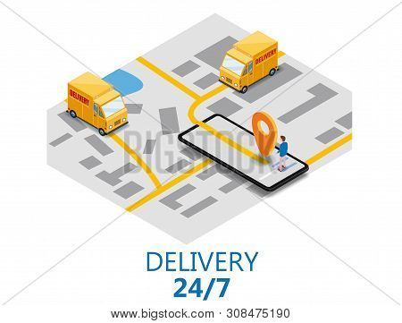 Isometry Express Cargo Delivery Route Navigation Map Of The City, Smartphone, Van Delivery Point, Tr