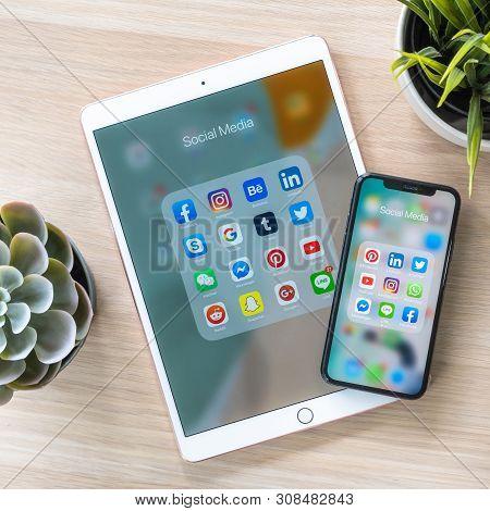 Bangkok, Thailand- June 28, 2019: Social Media App, Mobile Cross-channel Internet Online Application