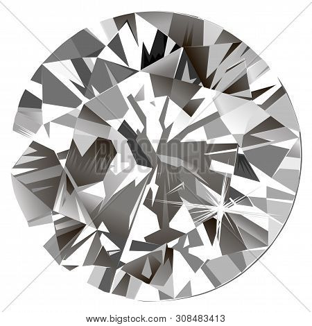 Abstract Polygonal Diamond Backlight Mural Interior Jewelry Painting Isolated Cushion Background, Ve