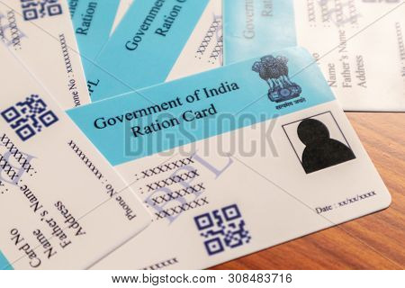 Maski, Karnataka, India - June 26 2019: Ration Cards Issued B The State Govenrments In India For Buy