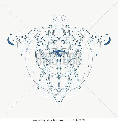 Mystical Geometry Symbol. Linear Alchemy, Occult, Philosophical Sign. Underbreast Sacramental Tattoo