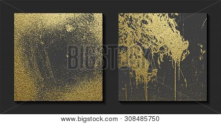 Gold Grunge Texture To Create Distressed Effect. Patina Scratch Golden Elements. Vintage Abstract Il